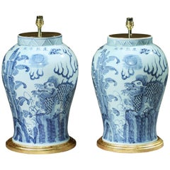 Pair of Blue and White Chinese Vases with Foo Dogs