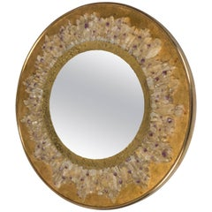 Fish-Eye Mirror with Quartz Crystals and Hammered Brass Frame, France, 2017