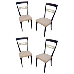Consorzio Sedie Friuli, Set of Four Chairs in Lacquered and Tinted Beech