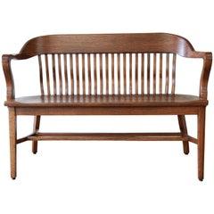 Vintage Oak Banker's Bench