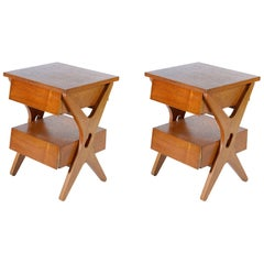 Pair of Italian Midcentury Tables or Nightstand with Double Drawer
