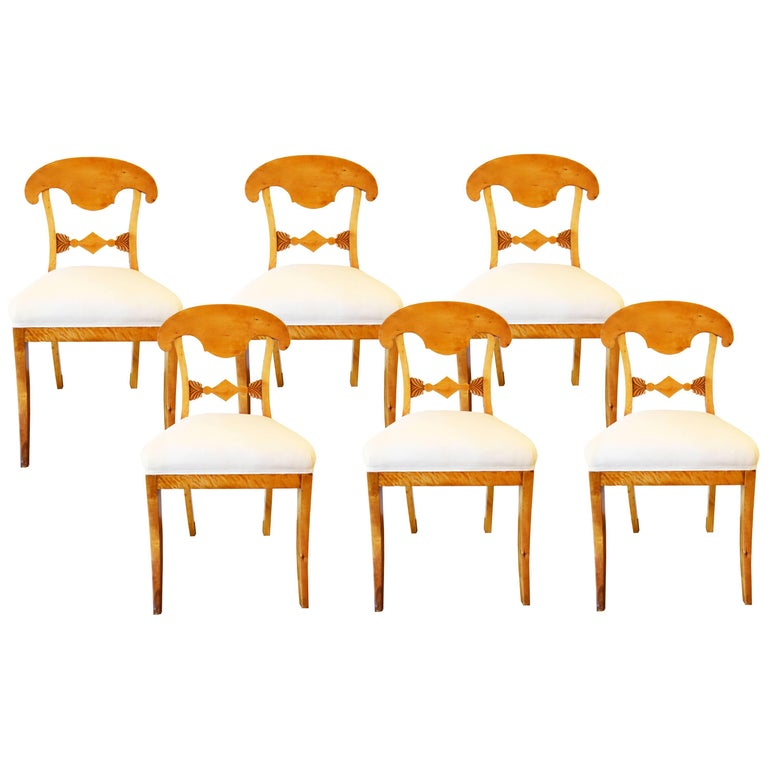 Set of Six Swedish Biedermeier Dining Chairs