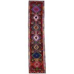 Vintage Brown Tribal Turkish Runner Rug