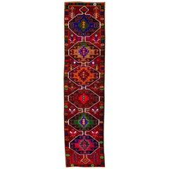 Vintage Red Tribal Turkish Runner Rug, 2.05x10.08