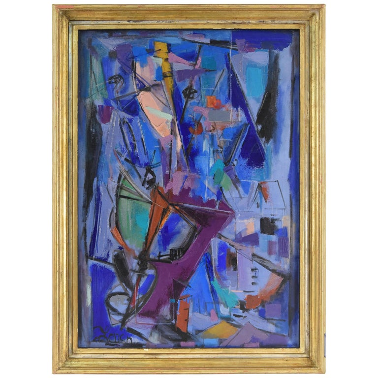 1960s Abstract Oil on Canvas Painting