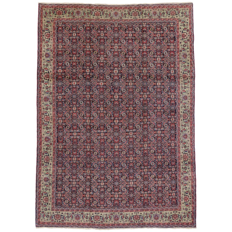 Antique Persian Tabriz Classic Herati Design Rug