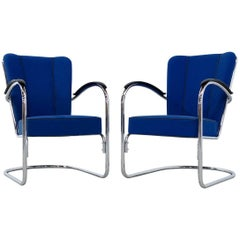 Gispen 412 Easy Chair by W.H. Gispen for Dutch Originals, Set of Two