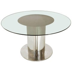 Round Glass Top Dining Table by Cidue, 1970s