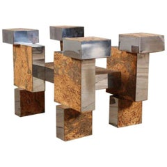Mid-Century Modern Cityscape Fashioned Coffee Table in the Style of Paul Evans