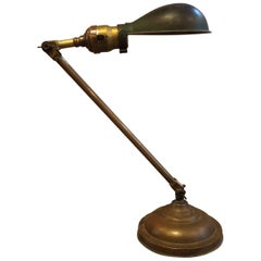 Industrial Articulating Brass Desk Lamp by Faries