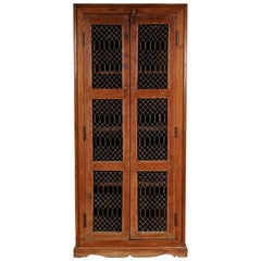 Tall Vintage Cabinet with Grille Doors