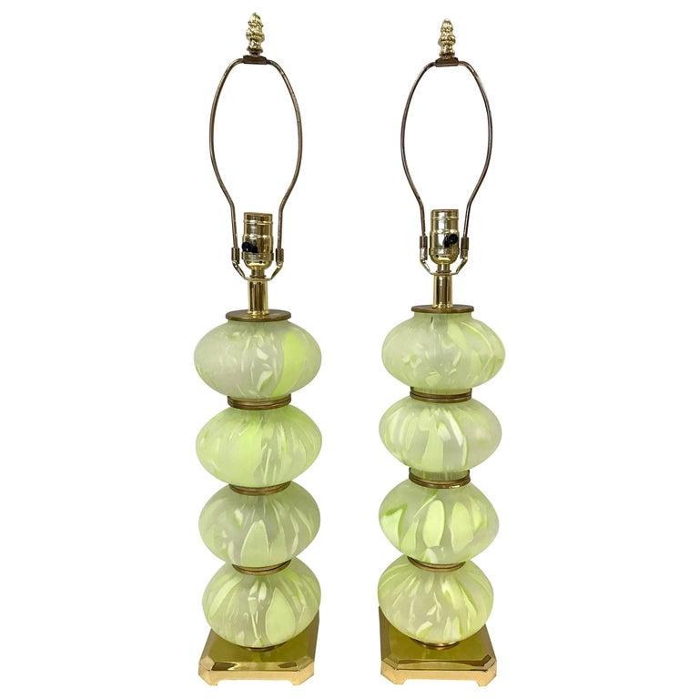 Green Italian Murano Glass Lamps Mid-Century Modern