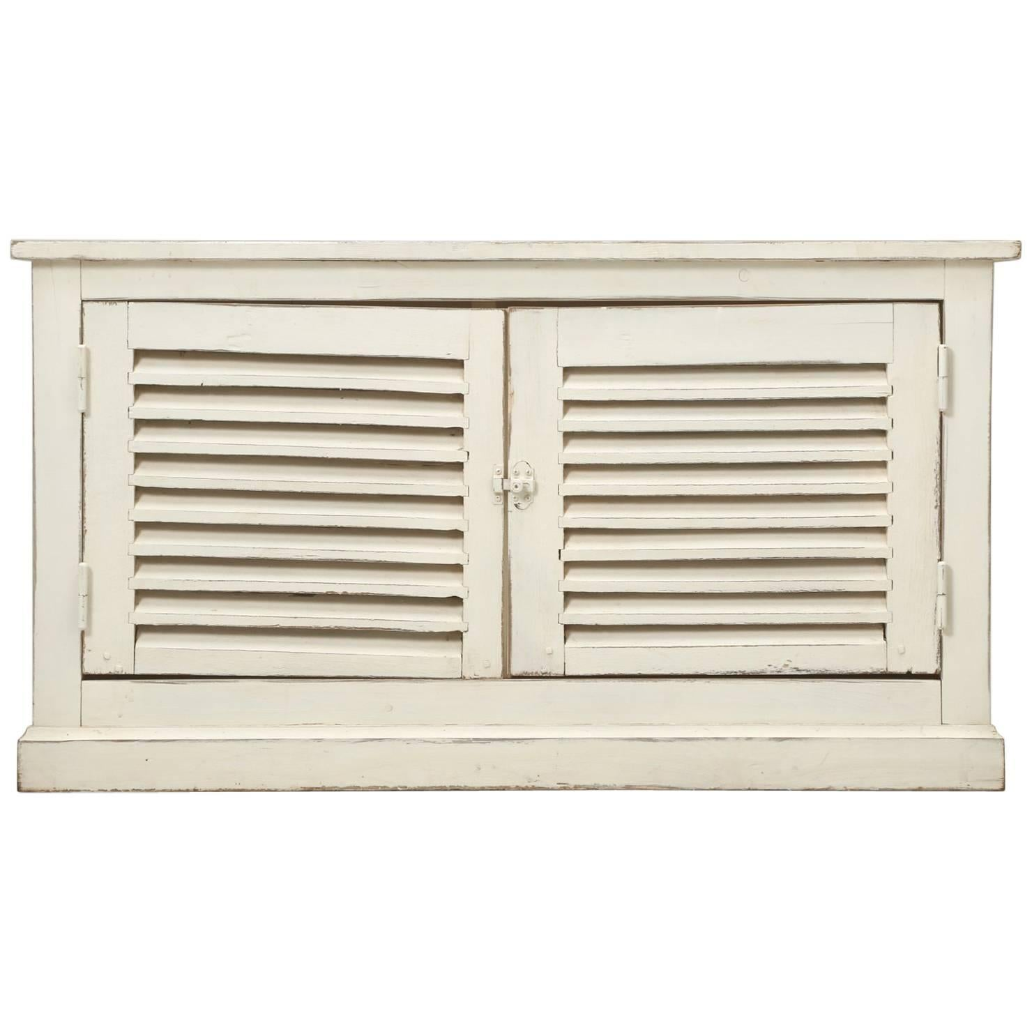 Superbe Country French Louvered Cabinet Or Low Buffet For Sale At 1stdibs