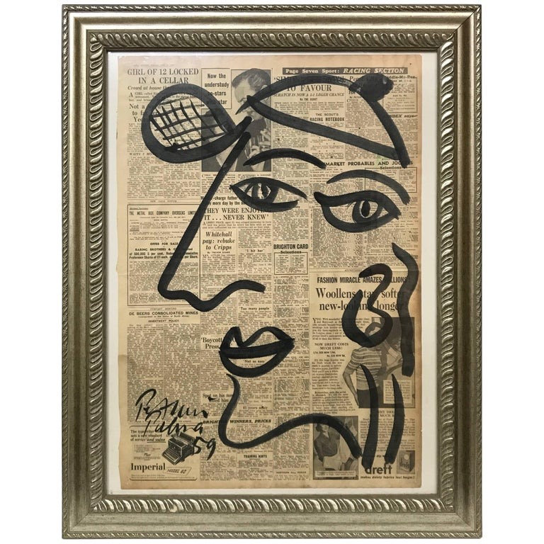 Peter Keil Framed Abstract Portrait Acrylic Painting