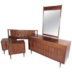 Midcentury Walnut Bedroom Suite by Coleman of Virginia