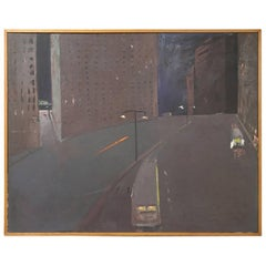 Andrew Browne Massive Oil on Canvas, Cityscape at Night