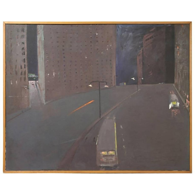 Andrew Browne Massive Oil on Canvas, Cityscape at Night For Sale
