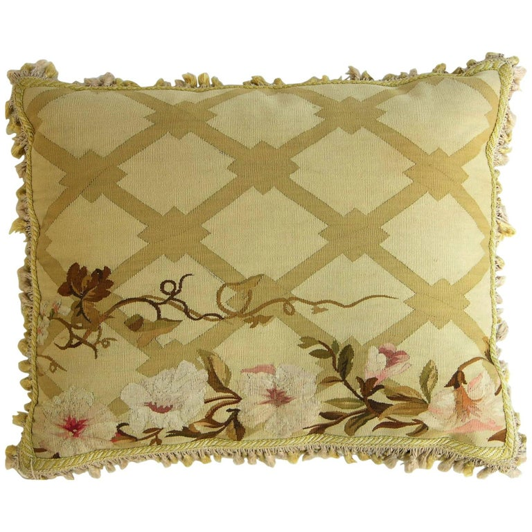 Antique French Aubusson Pillow, circa 1850 1226p