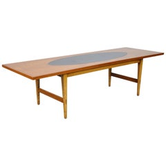 Paul McCobb Teak and Black Leather Coffee Table