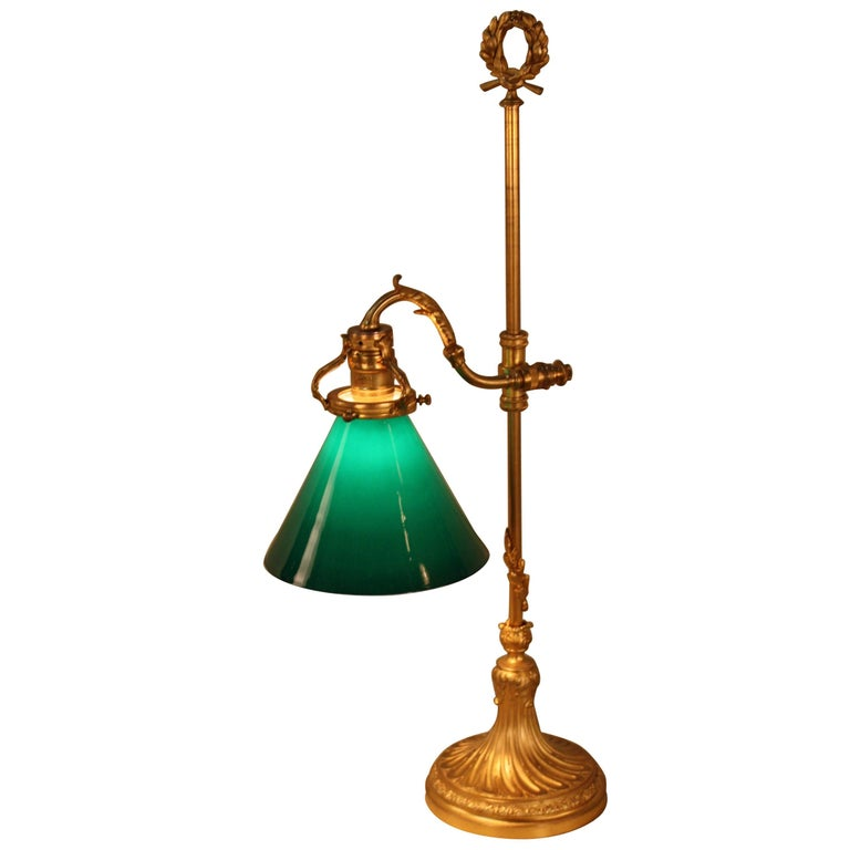 French Bronze Desk Lamp With Cased Green Shade