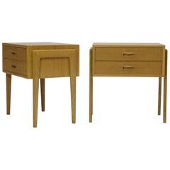 Pair of Danish White Oak Nightstands Side Tables