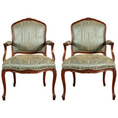 Pair of Carved French Open Armchairs