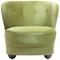 1930s Danish Slipper Chair in Original Green Mohair