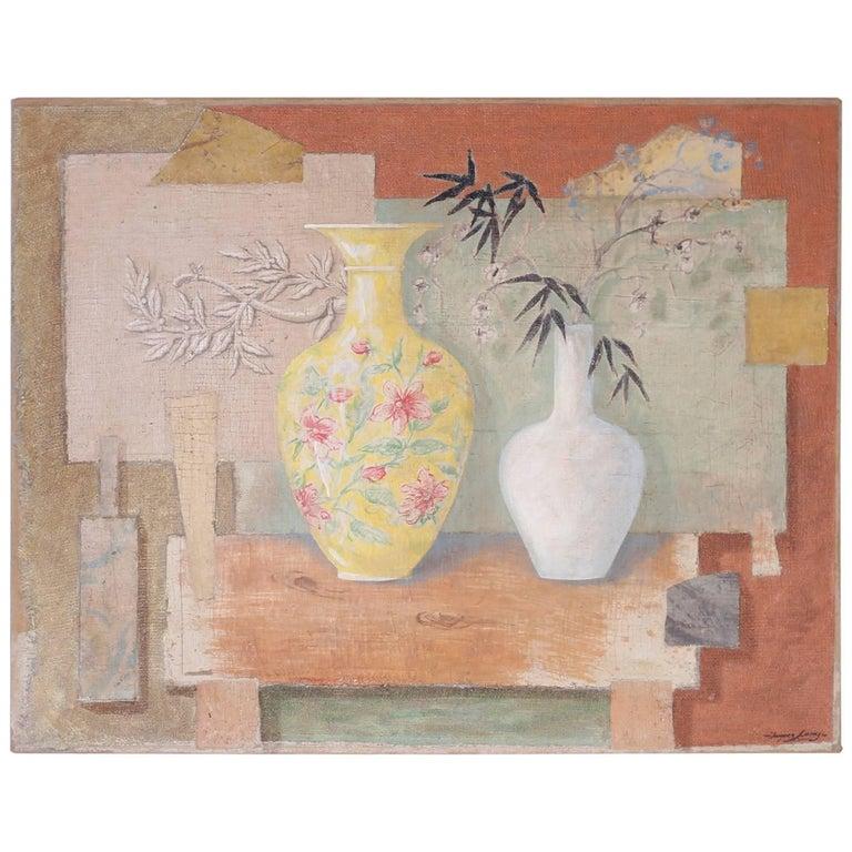 Still Life Oil Painting on Burlap