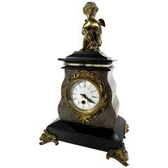 20th Century French Marble Clock with Bronze Cherub