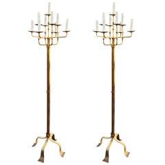 Pair of Baroque Floor Lamps in Gilt Metal, Art Deco Period