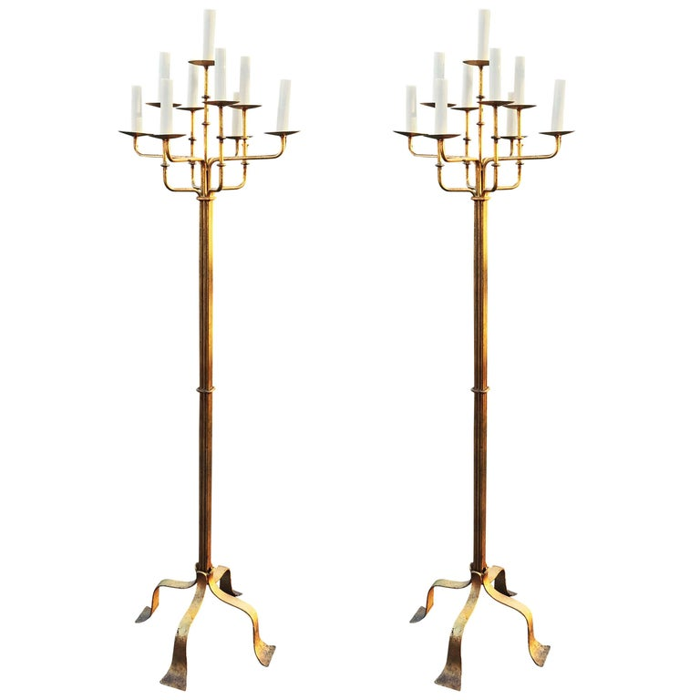 Pair of Baroque Floor Lamps in Gilt Metal, Art Deco Period For Sale
