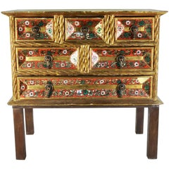 Early 20th Century Gold Gilt Chest with Reverse Painted Glass on Stand