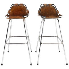 Les Arcs Ski Resort, Two High Bar Stools Selected by Perriand, 1960s