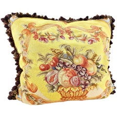 Large Victorian Style Needlepoint Pillow Fruit Bowl Design with Down