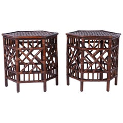Pair of British Colonial Faux Bamboo End Tables