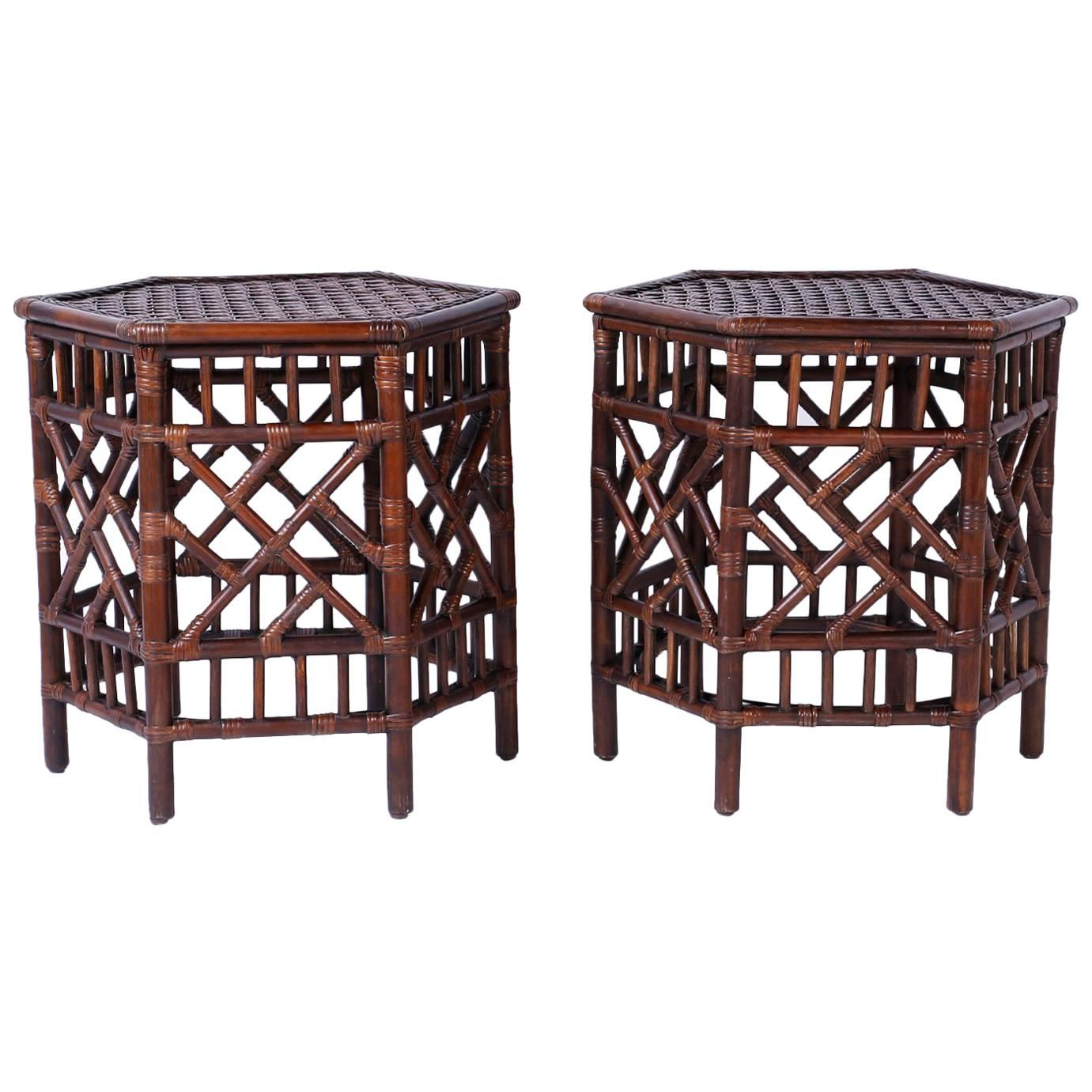Pair Of British Colonial Faux Bamboo End Tables For Sale