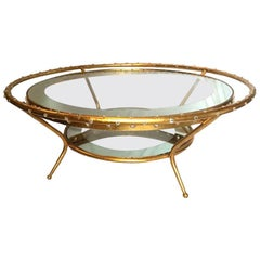 Large French Coffee Table with Crystal Insets