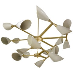 Cream Cone and Brass Italian Midcentury Studio Made Eighteen-Light Chandelier