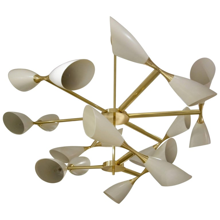 Cream Cone and Brass Italian Midcentury Studio Made Eighteen-Light Chandelier For Sale