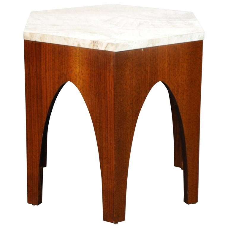 Harvey Probber Walnut and Travertine Hexagonal Side Table