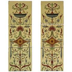 Six Large Mintons Ceramic Tiles Art Nouveau, 19th Century, circa 1885
