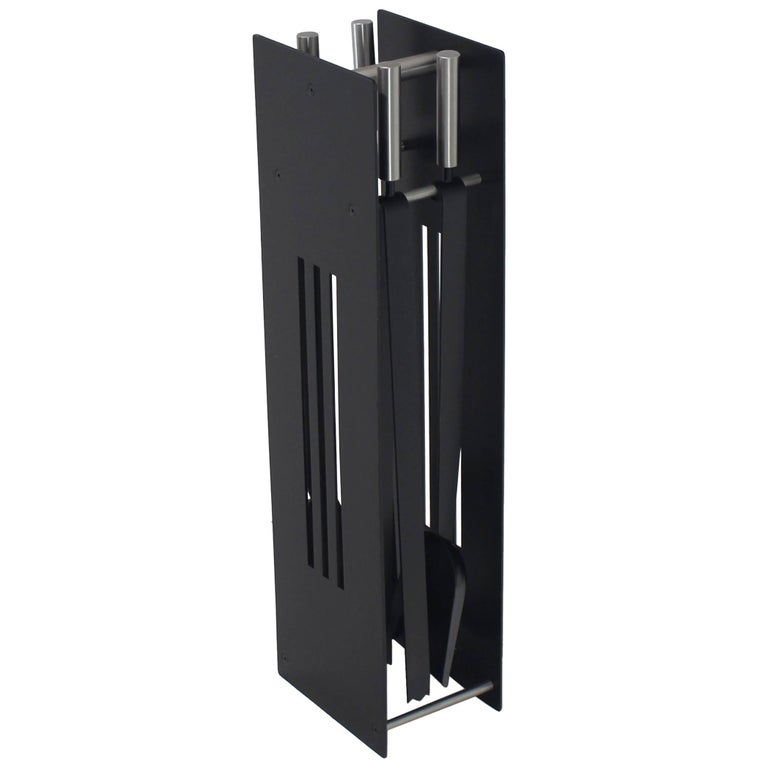 Modern Set of Fireplace Tools Black and Chrome