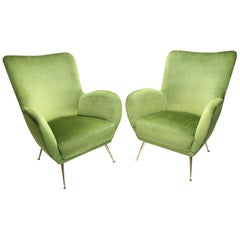 Pair of ISA Italian Club Chairs in the Style of Gio Ponti