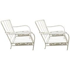 "Pair of Salterini ""Grape Vine"" Lounge Chair Frames in White"