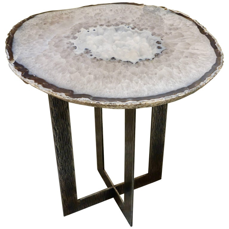 """Moonscape"" Silver Agate Table on Custom Hand Chased Steel Base by Amy Zook For Sale"