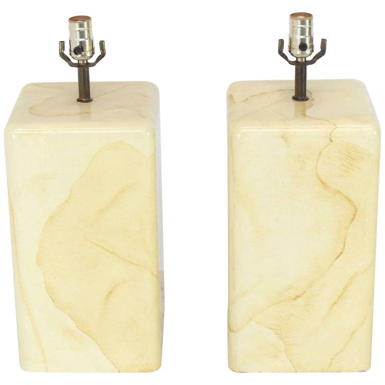 Pair of Faux Parchment Goatskin Table Lamps