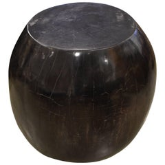 Andrianna Shamaris Super Smooth Drum Shape Petrified Wood Side Table