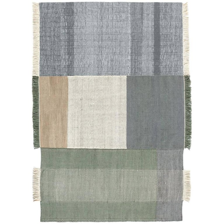 Tres Collection Medium Sage Hand-Loomed Wool & Felt Rug by Nani Marquina