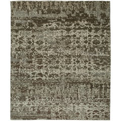 """""""Zinc"""" Brown Beige Hand-Knotted Area Rug"""