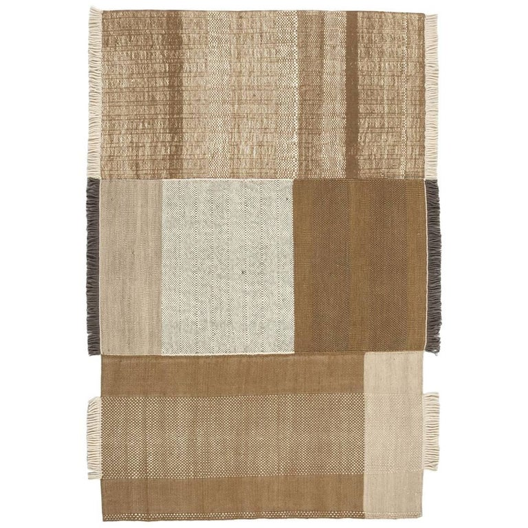 Tres Collection Medium Ochre Hand-Loomed Wool and Felt Rug by Nani Marquina